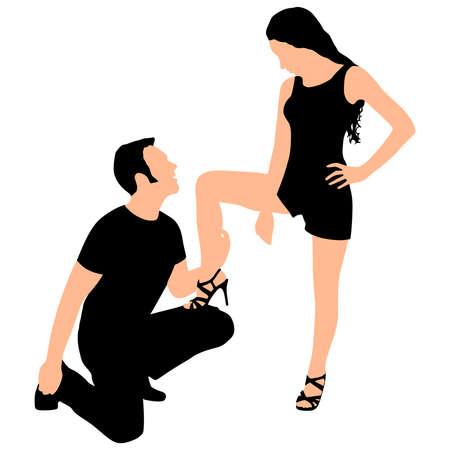 Mężczyzna klęczy podczas gdy jego dziewczyna trzyma stopę na kolanie