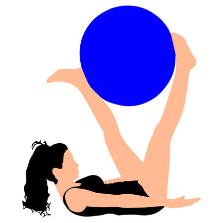 pilates: Fitness woman doing exercise with pilates ball, vector
