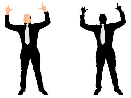 overcome: Business man expressing winning winner energy success, vector Illustration