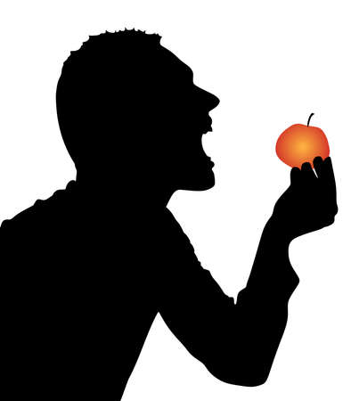 profile silhouette: Man Biting Apple, vector