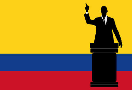 colombian: politician speaking from tribune, vector