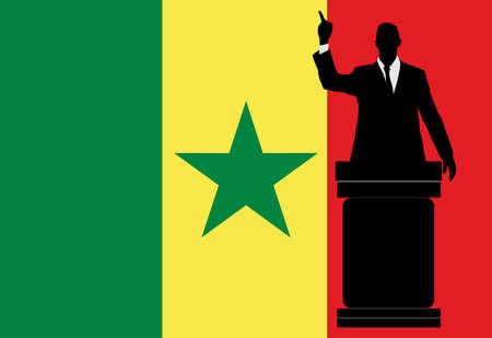 senegal: politician speaking from tribune, vector