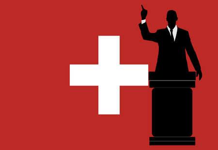 schweiz: politician speaking from tribune, vector