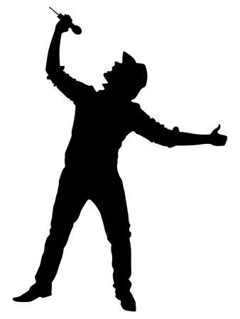 deejay: Man singing with a microphone, vector Illustration