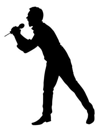 Canto del hombre con un micrófono, vector