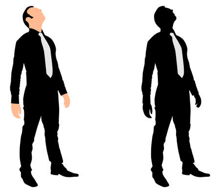 businessman shoes: Successful businessman looking up, vector