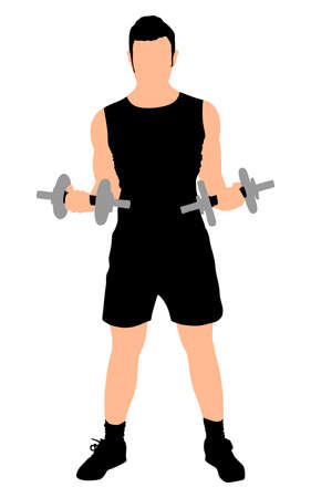 toning: Young man exercising with dumbbells, vector Illustration
