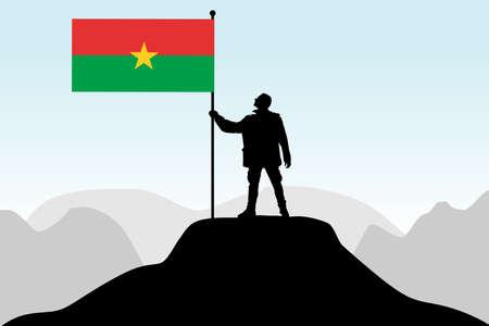 afrika: man holding a flag of Burkina Faso, vector Illustration