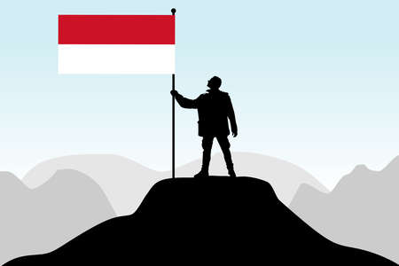 protest man: man holding a flag of Indonesia, vector Illustration