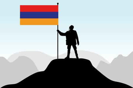 social history: man holding a flag of Armenia, vector