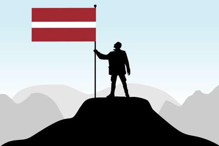 latvia: man holding a flag of Latvia, vector Illustration