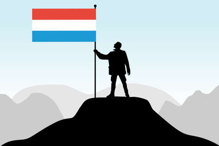 creativy: man holding a flag of Luxembourg, vector