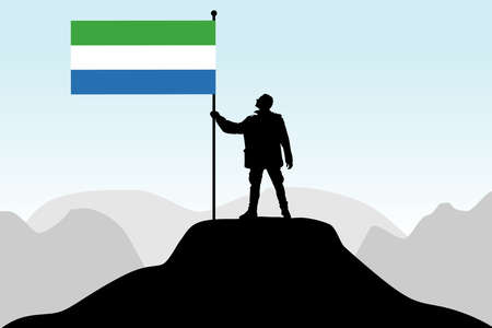 man holding a flag of Sierra Leone, vector