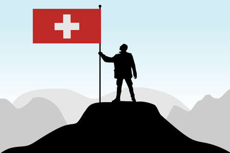 nationalist: man holding a flag of Switzerland, vector