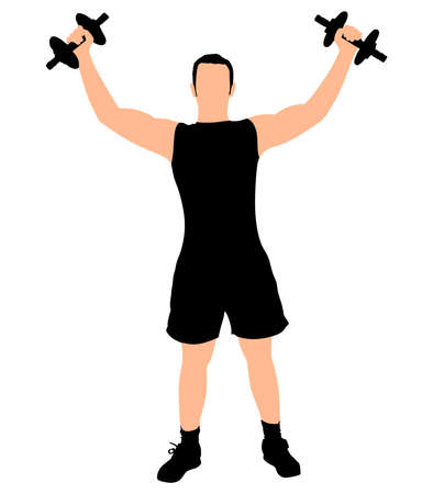 toning: Young man exercising, vector