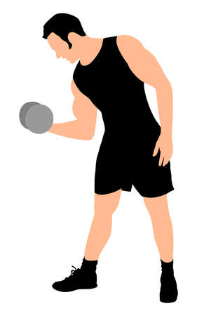 muscle toning: Young man exercising, vector