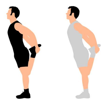 exercising: Young man exercising, vector