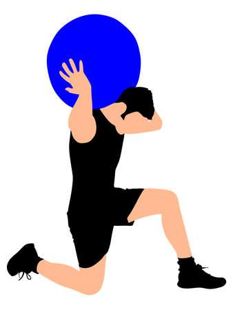 pilates ball: Young man exercising with pilates ball, vector
