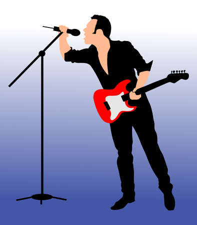 playback: Man singing with a microphone, vector Illustration