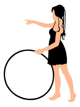 pigtails: Young woman with pigtails holding hoop, vector