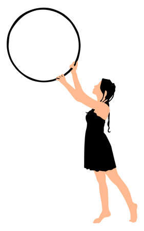 Young woman with pigtails holding hoop, vector