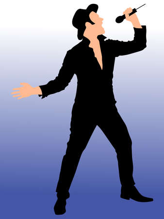 illustrated: Man singing with a microphone, vector Illustration