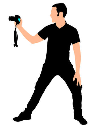 taking picture: photographer taking a picture, vector Illustration