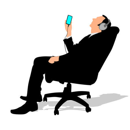 listening to music: business man listening music relaxing, vector