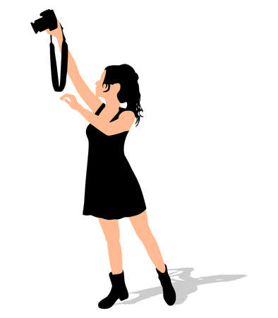 taking: Girl photographer taking a picture, vector Illustration