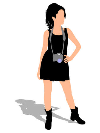 taking picture: Girl photographer taking a picture, vector Illustration
