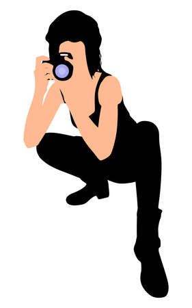 woman standing back: Girl photographer taking a picture, vector Illustration