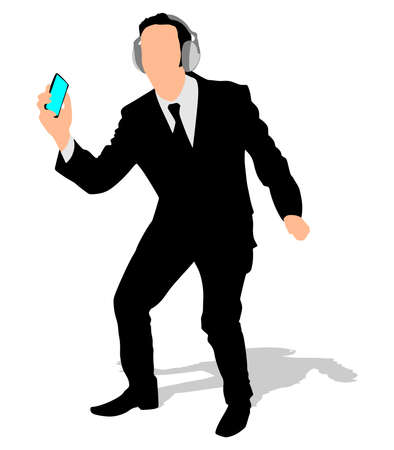 educated: Business man listening music, vector Illustration