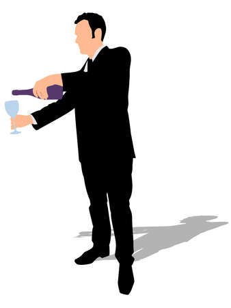 mature business man: Man with wine glass and bottle, vector Illustration