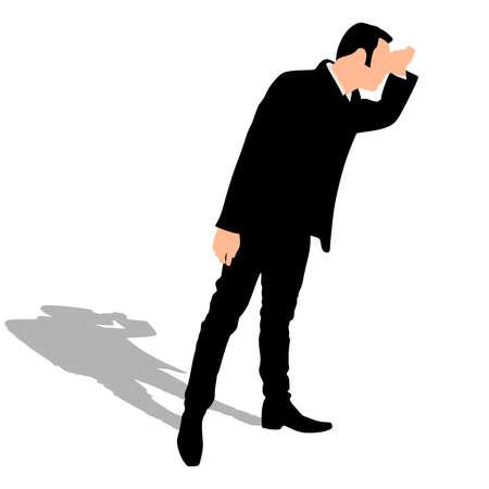 looking away: Business man standing tiptoe looking away, vector
