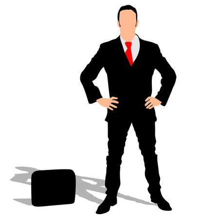 businessman shoes: successful businessman with briefcase, vector