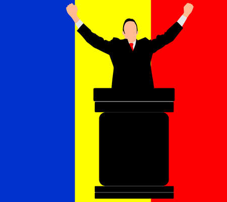 politician: politician speaking from tribune, vector