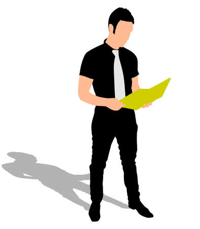 businessman shoes: Successful businessman holding folder, vector