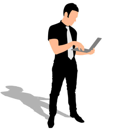 laptop vector: successful businessman holding a laptop, vector