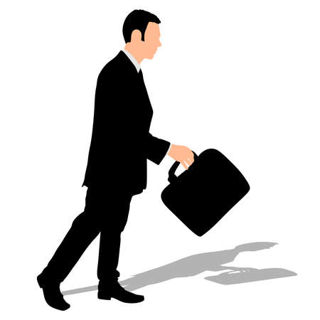 mature business man: successful businessman with briefcase, vector