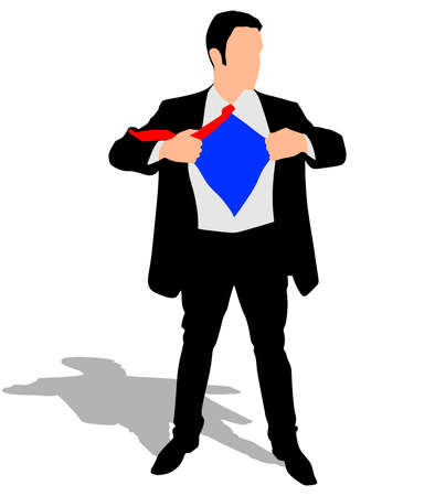 open shirt: A business man tearing open his shirt, vector