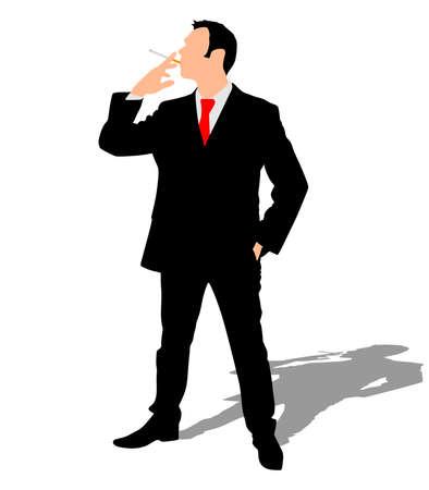 zakenman roken van sigaretten, vector Vector Illustratie