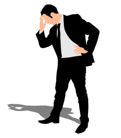 worried: Worried businessman, vector
