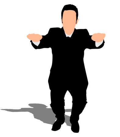 squats: successful businessman doing squats, vector Illustration