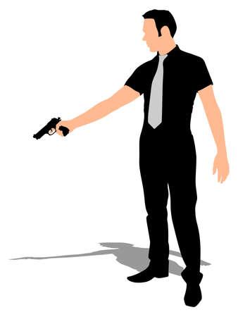 man shooting gun, vector