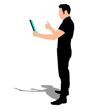 tablet vector: business man walking touchscreen digital tablet, vector