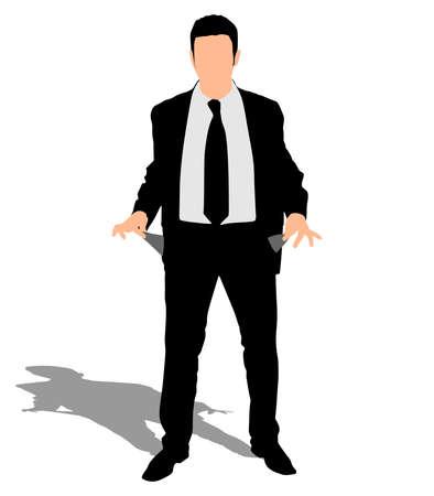 sullen: businessman showing his empty pockets, vector Illustration