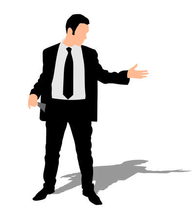 sullen: businessman showing his empty pockets, vector Illustration
