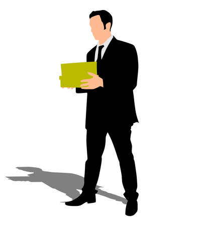 reach out: business man holding box, vector Illustration