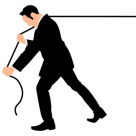 business man pulling a rope, vector