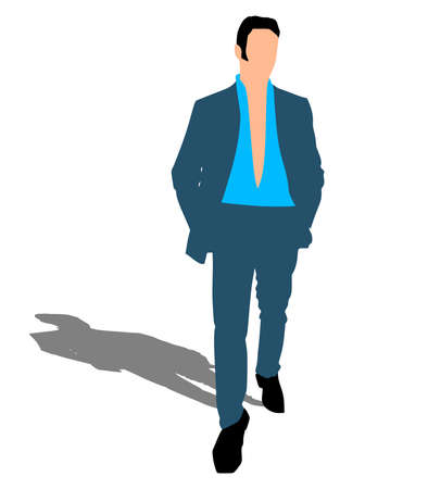 businessman shoes: Young man walking, vector Illustration